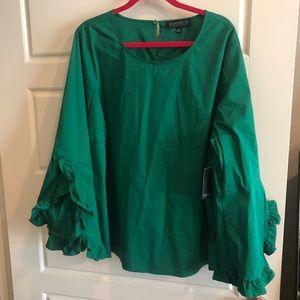 NWT Eloquii green ruffle sleeve top 26
